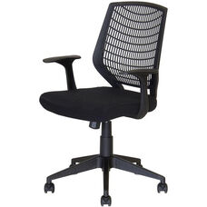 Flexo Task Chair with Arms and Poly Back - Black Back and Black Seat