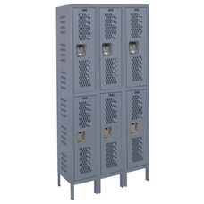 Heavy-Duty Ventilated (HDV) Three Wide Double-Tier Locker Assembled - Hallowell Gray - 36