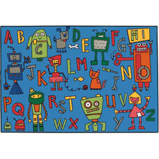 Kids Value Reading Robots Rectangular Nylon Rug - 48