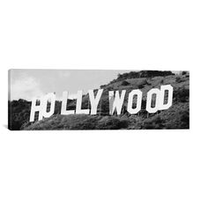 Hollywood Panoramic Skyline Cityscape (Black & White - Sign) by Unknown Artist Gallery Wrapped Canvas Artwork