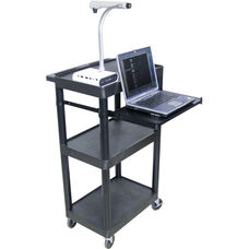 3 Shelf Heavy Duty A/V Utility Cart with Pullout Keyboard Tray and 3 Outlet Surge - Black - 24