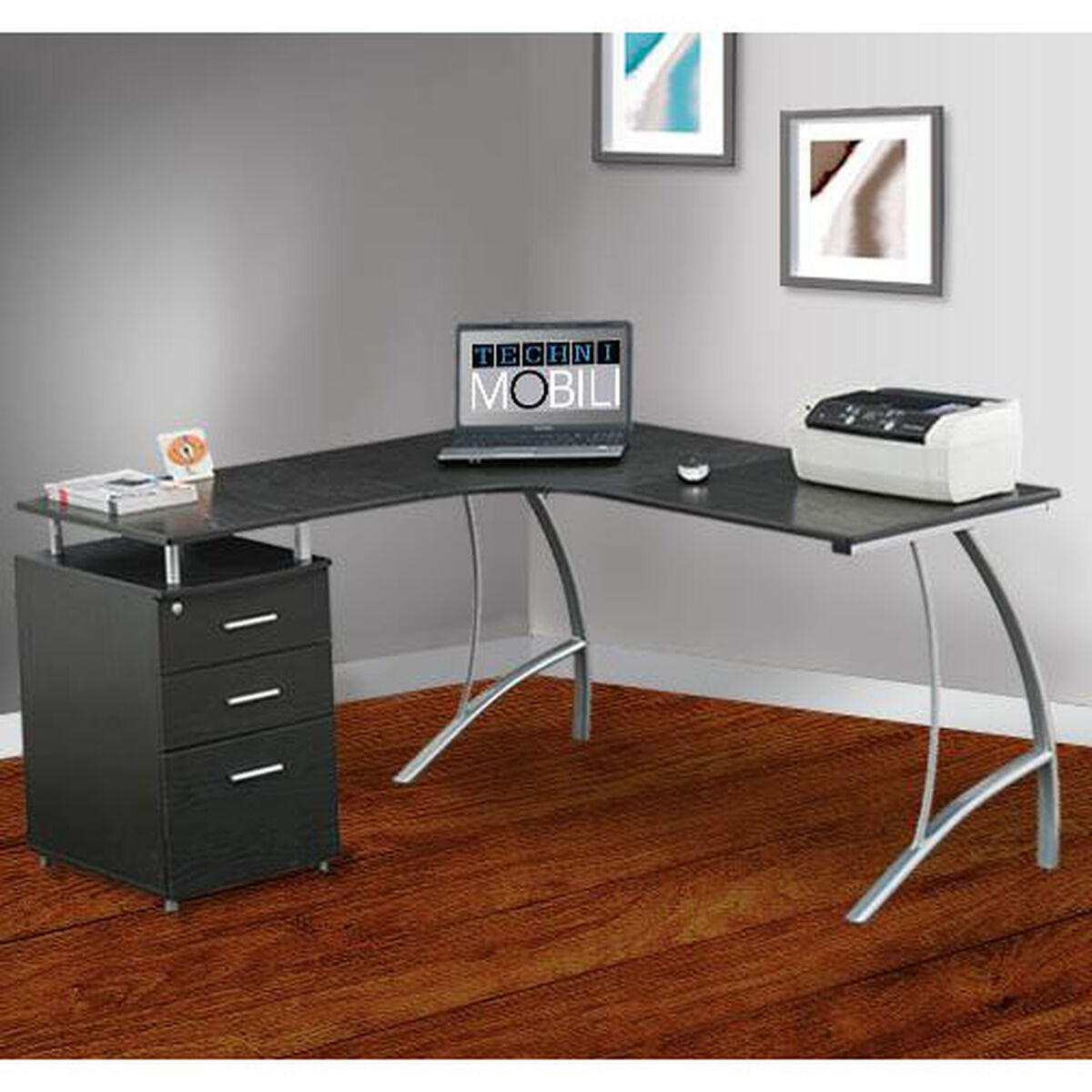 Our Techni Mobili L Shape Corner Desk With File Cabinet Espresso Is On Now