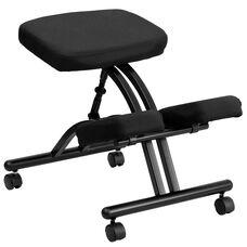 Mobile Ergonomic Kneeling Chair in Black Fabric