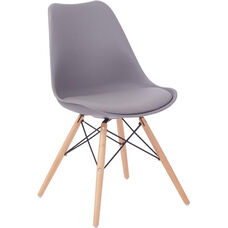 Ave Six Allen Guest Chair with Natural Wood Legs - Grey