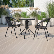 23.75'' Round Glass Metal Table with 2 Black Rattan Stack Chairs