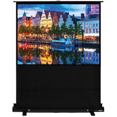 White and Black Portable Height Adjustable Floor Rising Projection Screen with Matte White Fabric Screen and Black Aluminum Casing - 80
