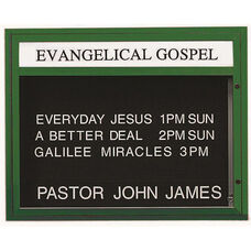 Single Sided Illuminated Community Board with Header and Forest Green Powder Coat Finish - 33