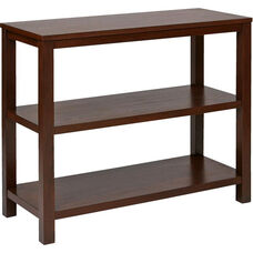 Ave Six Merge Foyer Table with Shelves and Solid Wood Legs - Mahogany