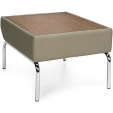 Triumph Laminate Top Table with Vinyl Border and Chrome Feet - Taupe Vinyl with Bronze Top