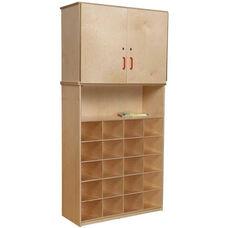 Vertical Locking Storage Cabinet with 20 Orange Plastic Trays - 36
