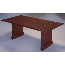Governors Rectangular Conference Table with Slab Bases - Engraved Executive Mahogany