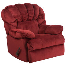 Contemporary Lady Sangria Microfiber Fan-Back Rocker Recliner