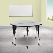 """2 Piece Mobile 47.5"""" Circle Wave Collaborative Grey Thermal Laminate Adjustable Activity Table Set"""